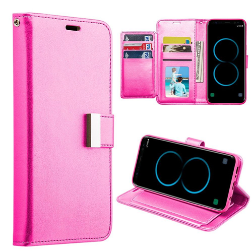 Insten Book-Style Leather Fabric Case w/stand/card slot/Photo Display For Samsung Galaxy S8, Pink
