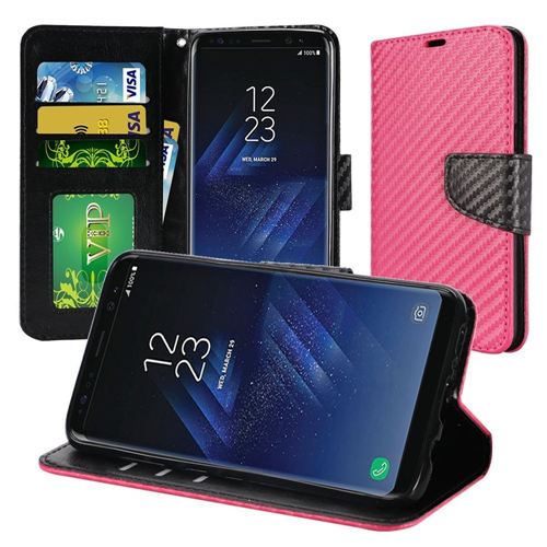 Insten Carbon Fiber Folio Leather Fabric Case w/stand/card slot For Samsung Galaxy S8, Hot Pink