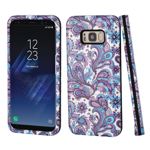 Insten European Flowers Hard Dual Layer Plastic TPU Case For Samsung Galaxy S8, Purple/Blue