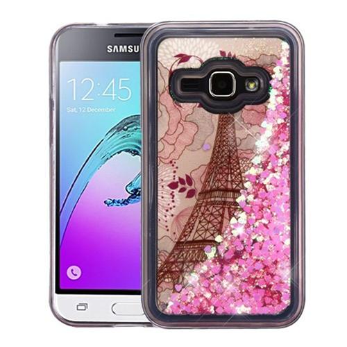 Insten Quicksand Glitter Eiffel Tower Hard Case For Samsung Galaxy Amp 2/Express 3/J1 (2016), Pink