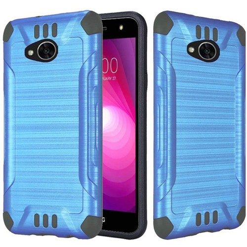 Insten Slim Armor Hybrid Brushed TPU Case For LG Fiesta LTE/K10 Power/X Charge/X Power 2, Blue/Black