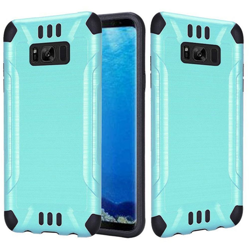 Insten Slim Armor Hard Hybrid Brushed TPU Case For Samsung Galaxy S8, Teal/Black