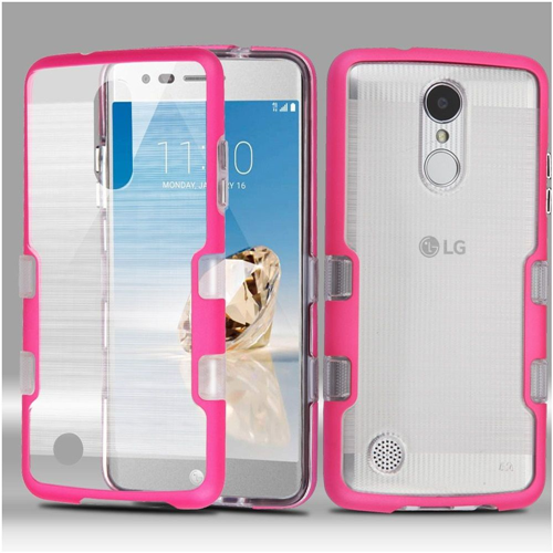 Insten Hard Hybrid Brushed TPU Case For LG Fortune/K4 (2017)/K8 (2017)/LV3/Phoenix 3, Clear/Hot Pink