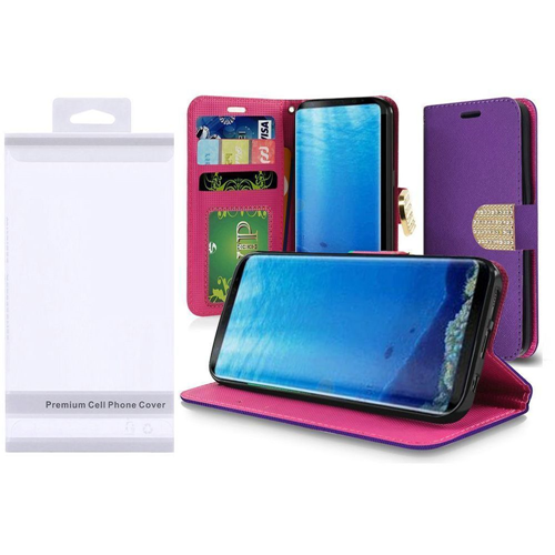 Insten Folio Leather Fabric Case w/stand/card slot/Diamond For Samsung Galaxy S8, Purple