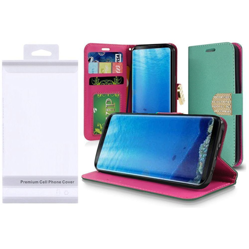 Insten Flip Leather Fabric Case w/stand/card slot/Photo Display/Diamond For Samsung Galaxy S8, Teal
