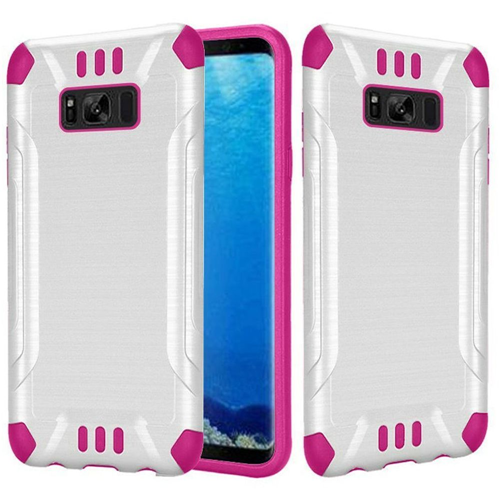 Insten Slim Armor Hard Hybrid Brushed TPU Cover Case For Samsung Galaxy S8, White/Hot Pink