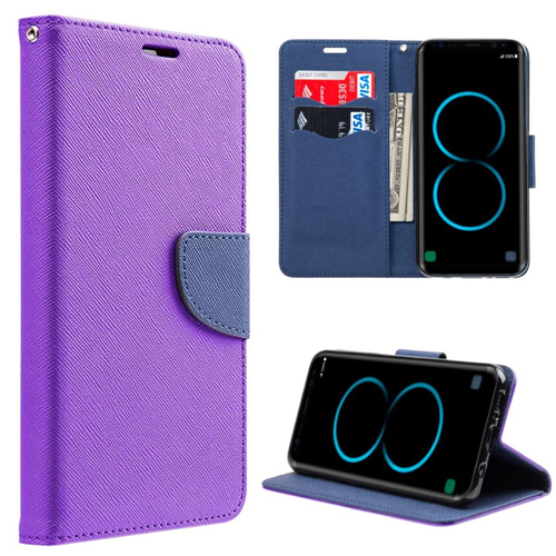 Insten Flip Leather Fabric Case w/stand/card slot For Samsung Galaxy S8 Plus, Purple/Blue