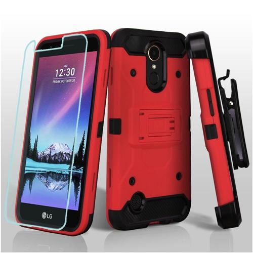 Insten Hard Hybrid TPU Case w/stand/Holster/Bundled For LG K10 (2017)/K20 Plus/K20 V, Red/Black