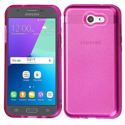 Insten Glitter TPU Rubber Case For Samsung Galaxy Amp Prime 2/J3 (2017)/J3 Emerge/J3 Prime, Hot Pink