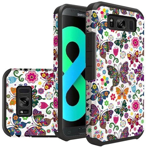 Insten Butterflies Hard Hybrid Plastic TPU Cover Case For Samsung Galaxy S8 Plus, Colorful