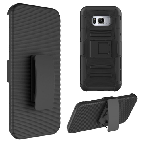 Insten Hard Hybrid Plastic TPU Cover Case w/stand/Holster For Samsung Galaxy S8, Black
