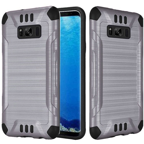Insten Slim Armor Hard Hybrid Brushed TPU Case For Samsung Galaxy S8, Gray/Black