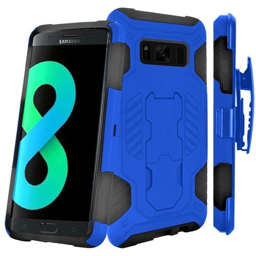 Insten SuperCoil Hard Dual Layer Cover Case w/stand/Holster For Samsung Galaxy S8 Plus, Blue/Black