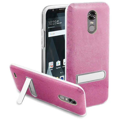 Insten Hard Plastic TPU Cover Case w/stand For LG Stylo 3/Stylo 3 Plus, Rose/Clear