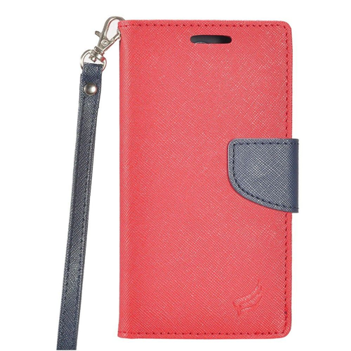 Insten Book-Style Leather Fabric Case Lanyard w/stand/card holder/Photo Display For LG G6, Red/Blue