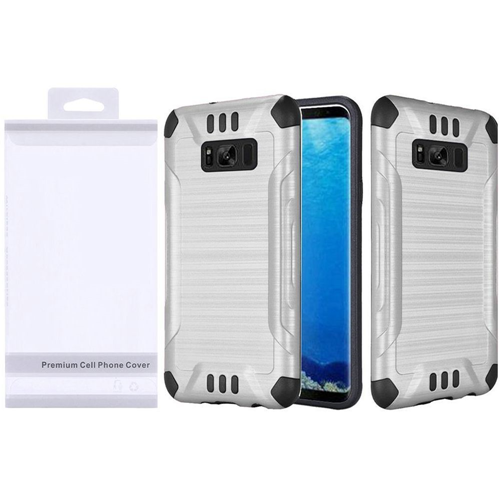 Insten Slim Armor Hard Hybrid Brushed TPU Case For Samsung Galaxy S8, Silver/Black