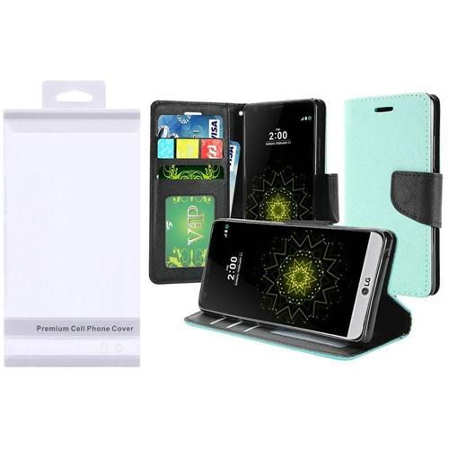 Insten Folio Leather Fabric Case w/stand/Photo Display For LG Grace 4G/Harmony/K20 Plus/K20 V, Teal