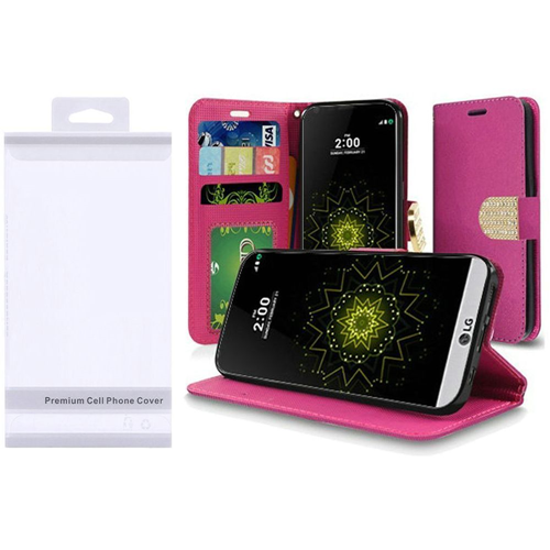 Insten Folio Fabric Case w/stand/card holder For LG Grace 4G/Harmony/K20 Plus/K20 V, Hot Pink