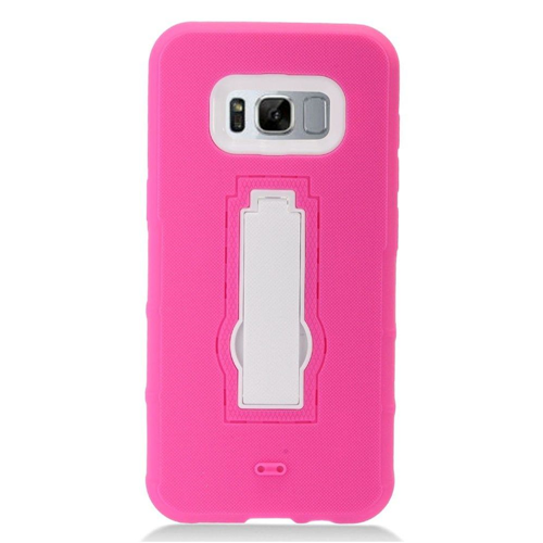 Insten Symbiosis Skin Rubber Hard Cover Case w/stand For Samsung Galaxy S8 Plus, Hot Pink/White