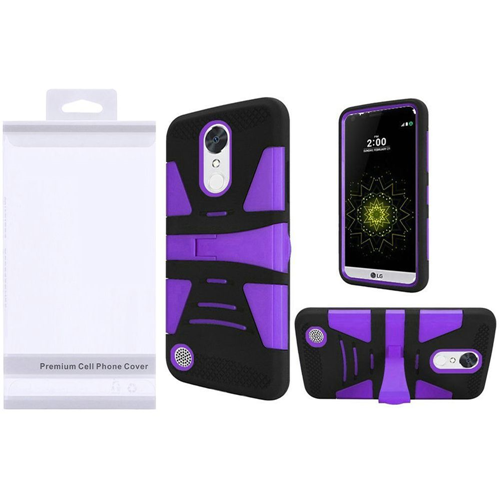 Insten Hybrid Plastic Silicone Case w/stand For LG Grace 4G/Harmony/K20 Plus/K20 V, Purple/Black