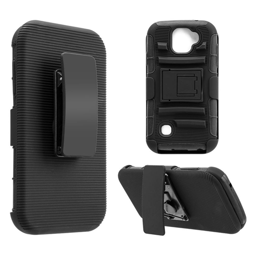 Insten Hard Dual Layer Plastic TPU Cover Case w/stand/Holster For LG K3 (2017), Black