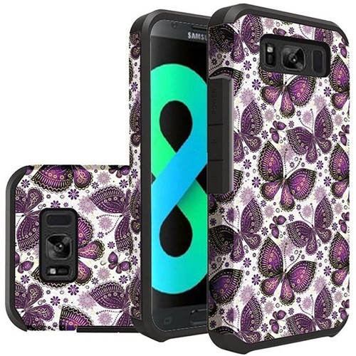 Insten Butterflies Hard Dual Layer Plastic TPU Case For Samsung Galaxy S8 Plus, Multi-Color