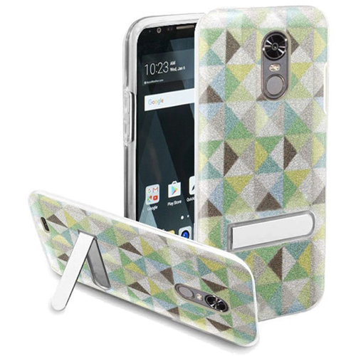 Insten Checker Hard Plastic TPU Case w/stand For LG Stylo 3/Stylo 3 Plus, Neon Green