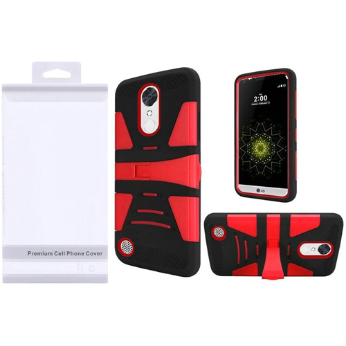 Insten Hard Hybrid Plastic Silicone Case w/stand For LG Grace 4G/Harmony/K20 Plus/K20 V, Red/Black