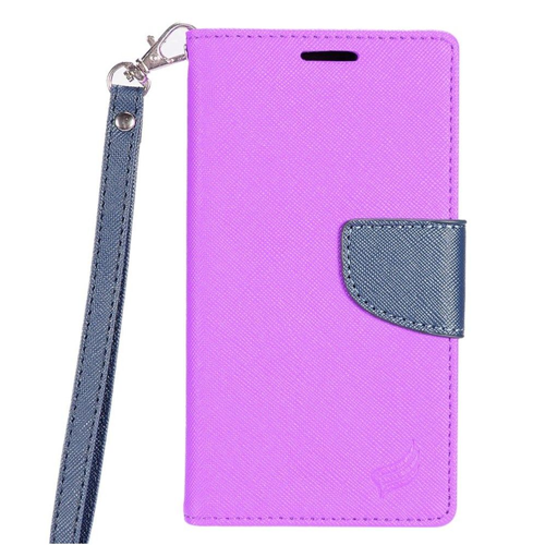 Insten Flip Leather Fabric Case Lanyard w/stand/card holder/Photo Display For LG G6, Purple/Blue