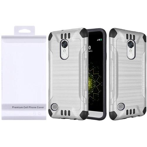 Insten Slim Armor Hard Hybrid Brushed TPU Case For LG Grace 4G/Harmony/K20 Plus/K20 V, Silver/Black