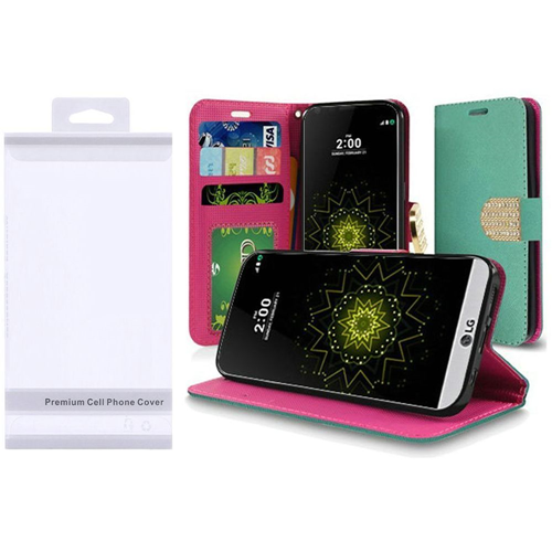 Insten Flip Leather Fabric Case w/stand/Photo Display For LG Grace 4G/Harmony/K20 Plus/K20 V, Teal