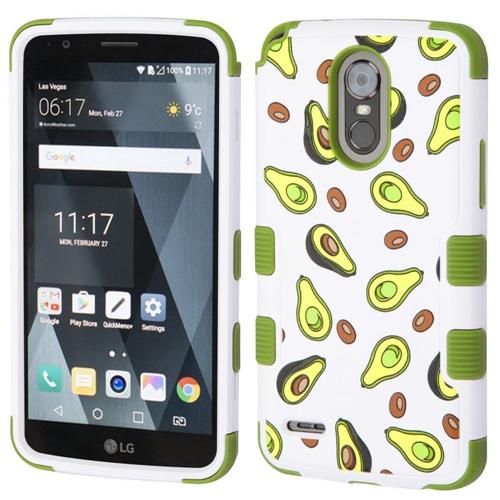 Insten Avocado Hard Dual Layer Plastic TPU Case For LG Stylo 3/Stylo 3 Plus, Green/White