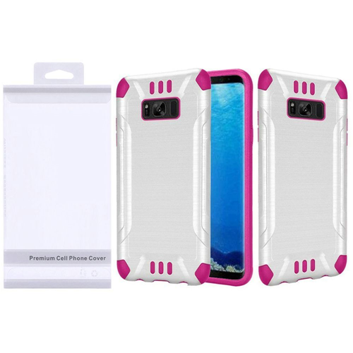 Insten Slim Armor Hard Hybrid Brushed TPU Case For Samsung Galaxy S8, White/Hot Pink