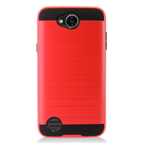 Insten Chrome Dual Layer Brushed Hard Cover Case For LG X Power 2, Red/Black
