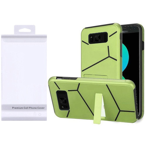 Insten Hard Dual Layer Plastic TPU Case w/stand For Samsung Galaxy S8 Plus, Neon Green/Black