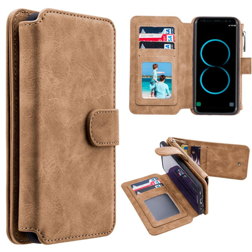 Insten Magnetic Folio Leather Fabric Case w/card slot/Photo Display For Samsung Galaxy S8, Brown