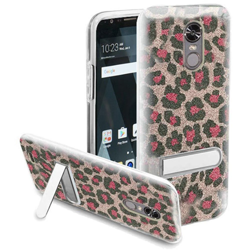 Insten Leopard Hard Plastic TPU Cover Case w/stand For LG Stylo 3/Stylo 3 Plus, Pink