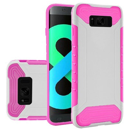 Insten Slim Armor Hard Dual Layer Plastic TPU Cover Case For Samsung Galaxy S8 Plus, White/Hot Pink