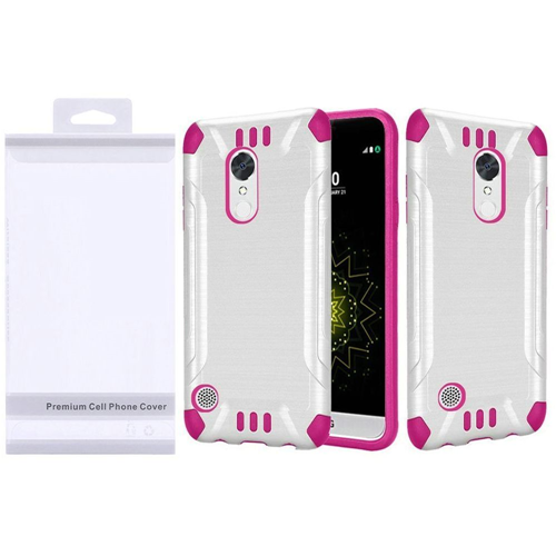 Insten Slim Armor Hard Brushed TPU Case For LG Grace 4G/Harmony/K20 Plus/K20 V, White/Hot Pink