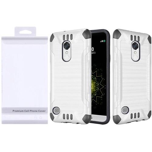 Insten Slim Armor Hard Hybrid Brushed TPU Case For LG Grace 4G/Harmony/K20 Plus/K20 V, White/Black
