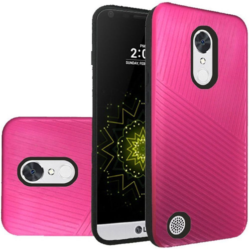 Insten Embossed Lines Hard Plastic TPU Case For LG Grace 4G/Harmony/K20 Plus/K20 V, Hot Pink/Black