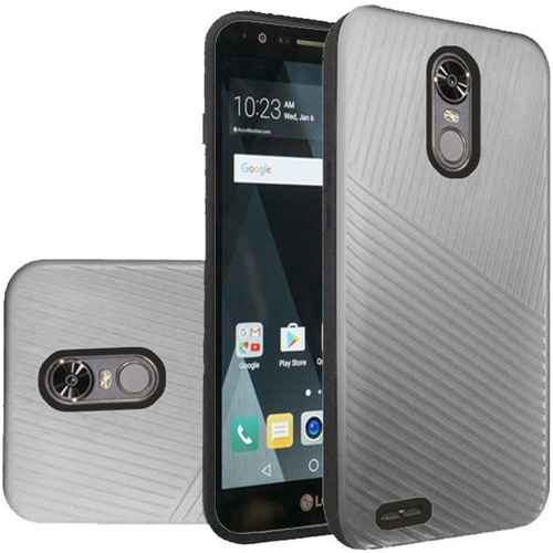 Insten Embossed Lines Hard Hybrid Plastic TPU Case For LG Stylo 3/Stylo 3 Plus, Silver/Black