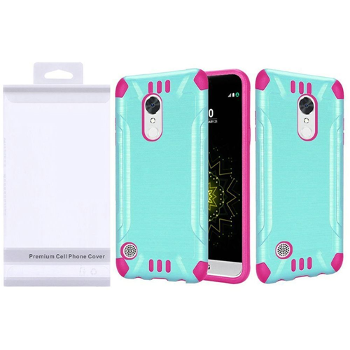 Insten Slim Armor Hard Brushed TPU Case For LG Grace 4G/Harmony/K20 Plus/K20 V, Teal/Hot Pink