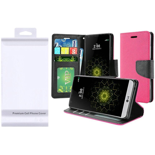 Insten Flip Leather Fabric Case w/stand For LG Grace 4G/Harmony/K20 Plus/K20 V, Hot Pink