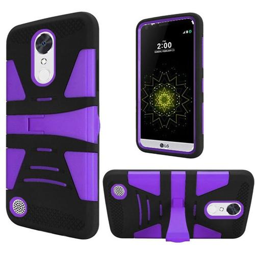 Insten Hard Dual Layer Plastic TPU Case w/stand For LG Grace 4G/Harmony/K20 Plus/K20 V, Purple/Black