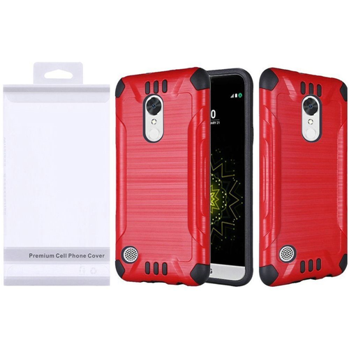 Insten Slim Armor Hard Hybrid Brushed TPU Case For LG Grace 4G/Harmony/K20 Plus/K20 V, Red/Black
