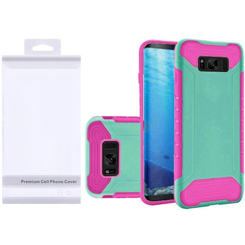 Insten Slim Armor Hard Dual Layer Plastic TPU Cover Case For Samsung Galaxy S8, Teal/Hot Pink