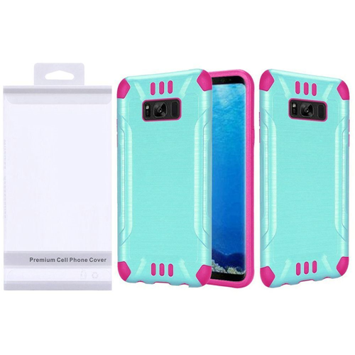 Insten Slim Armor Hard Hybrid Brushed TPU Cover Case For Samsung Galaxy S8, Teal/Hot Pink