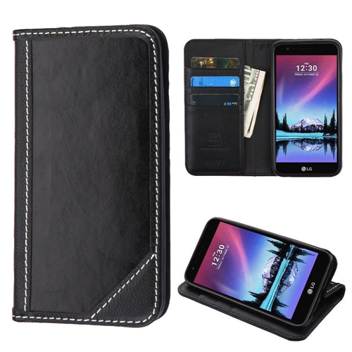 Insten Genuine leather Cover Case w/stand/card slot For LG Harmony/K10 (2017)/K20 Plus/K20 V, Black