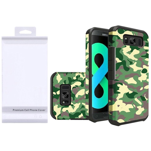 Insten Camouflage Hard Dual Layer Rubberized Cover Case For Samsung Galaxy S8 Plus, Green